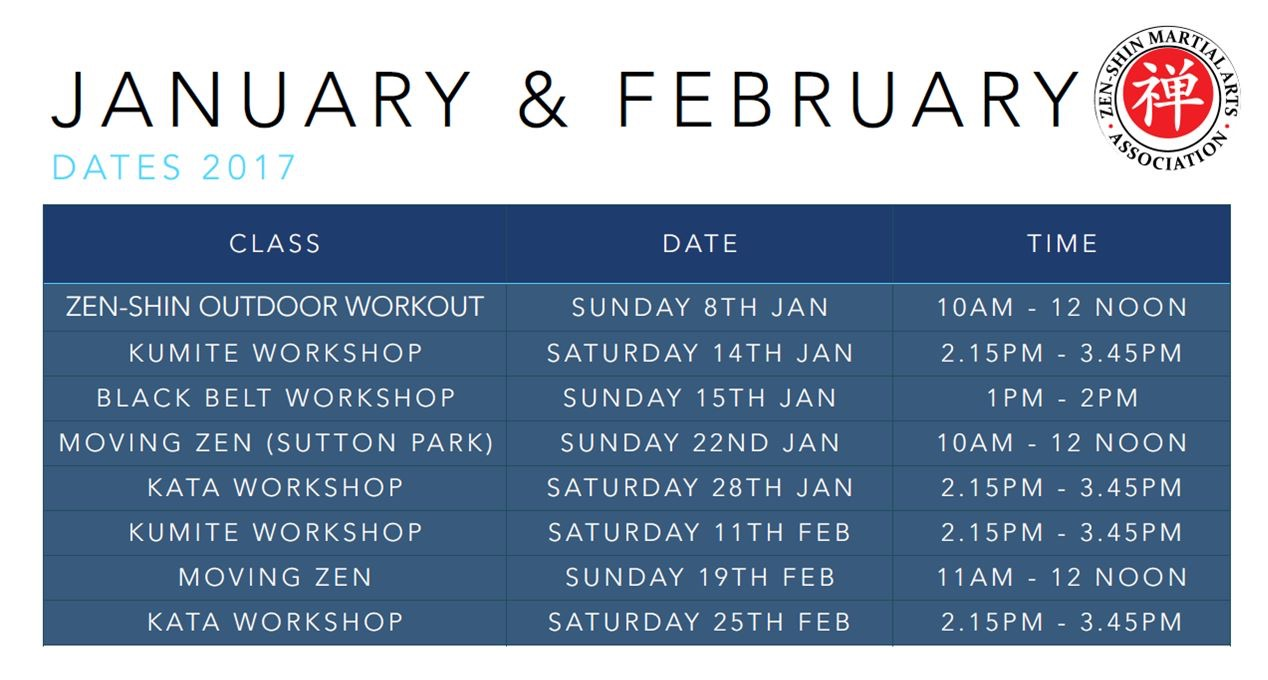 January and February 2017 dates